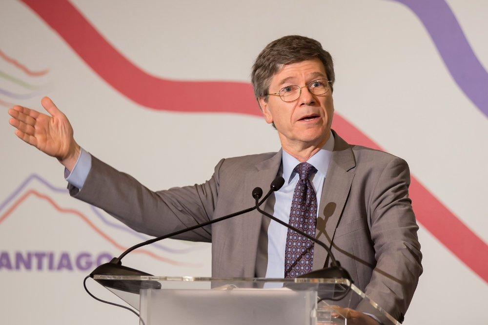 Jeffrey Sachs, director of the Earth Institute, Columbia University, speaks at the plenary session of the IMF conference at the Sheraton San Cristobal Hotel December 6, 2014 in Santiago, Chile. Cover source:  International Monetary Fund / Flickr