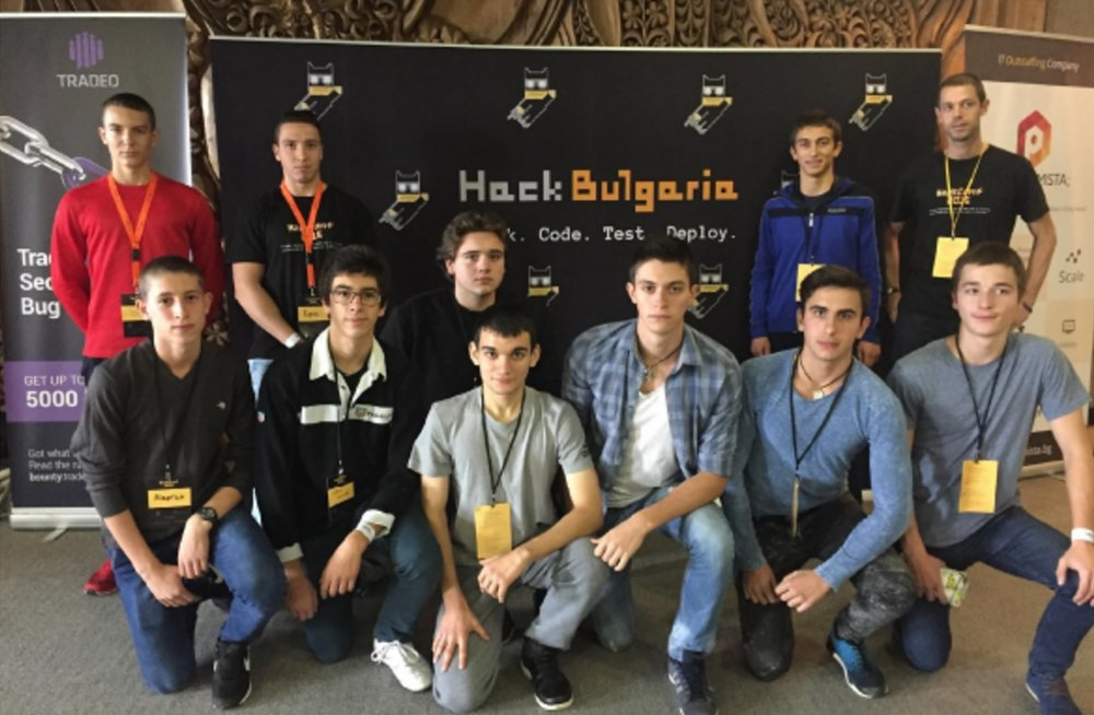 A group of Vratsa Software students at HackConf. Credit: Vratsa Software
