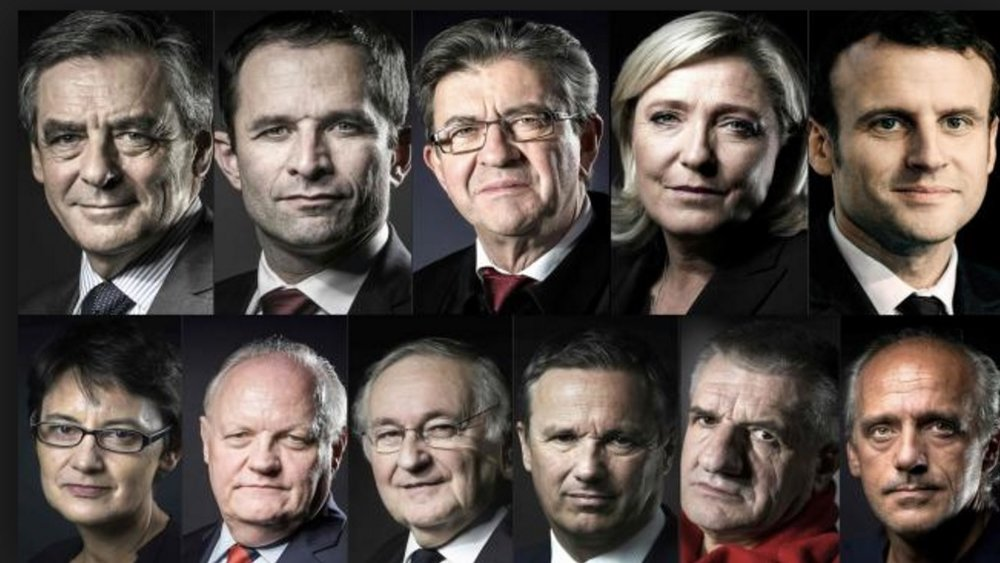 Top row (left to right): François Fillon, Benoît Hamon, Jean-Luc Mélenchon, Marine Le Pen and Emmanuel Macron Bottom row (left to right): Nathalie Artaud, Michel Asselinau, Jacques Cheminade, Nicolas Dupont-Aignan, Jean Lassalle and Philippe Poutou Credit: Huffingtonpost.fr
