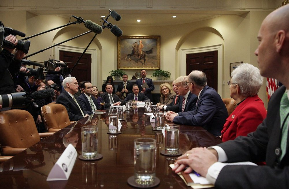 Trump and his aides during a brainstorming session to find an Obamacare replacement, which eventually became the AHCA. Source:  Wikimedia
