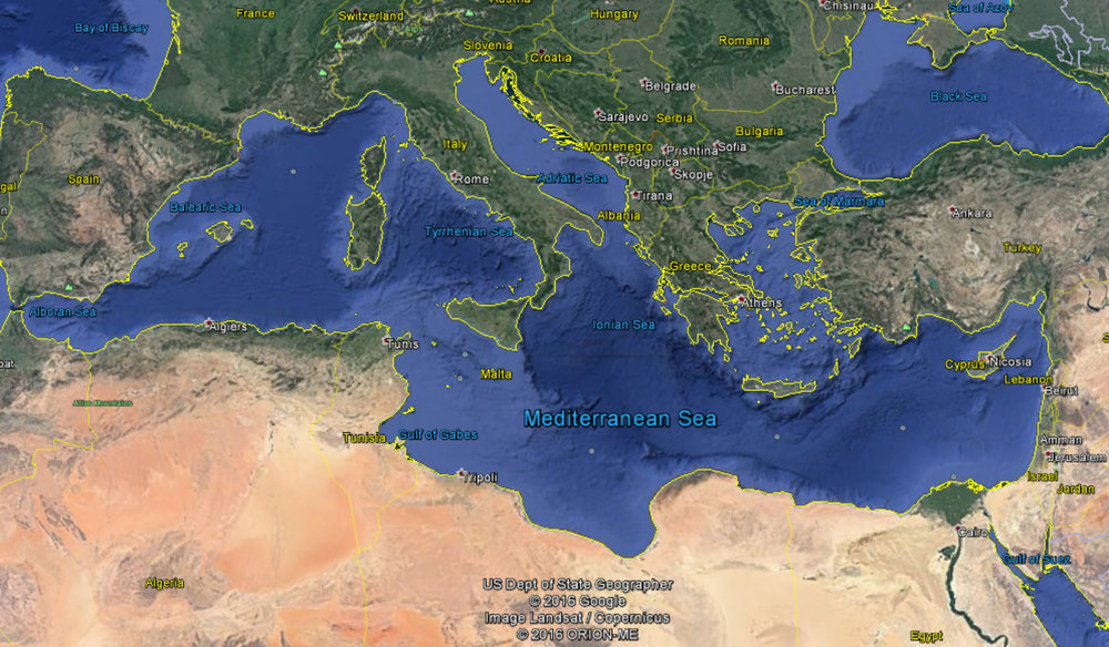 The Mediterranean Sea and bordering countries Cover source: Google Earth