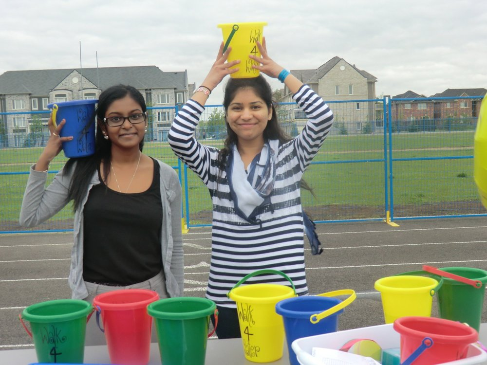 My friend, Reesha, (left) and I during the Louise Arbour Secondary School Water Walk Cover credit: Vanie Chahal