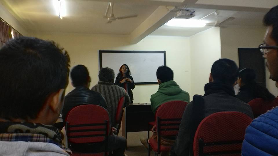 Jamuna Gautam speaking on one of the Smart Club sessions