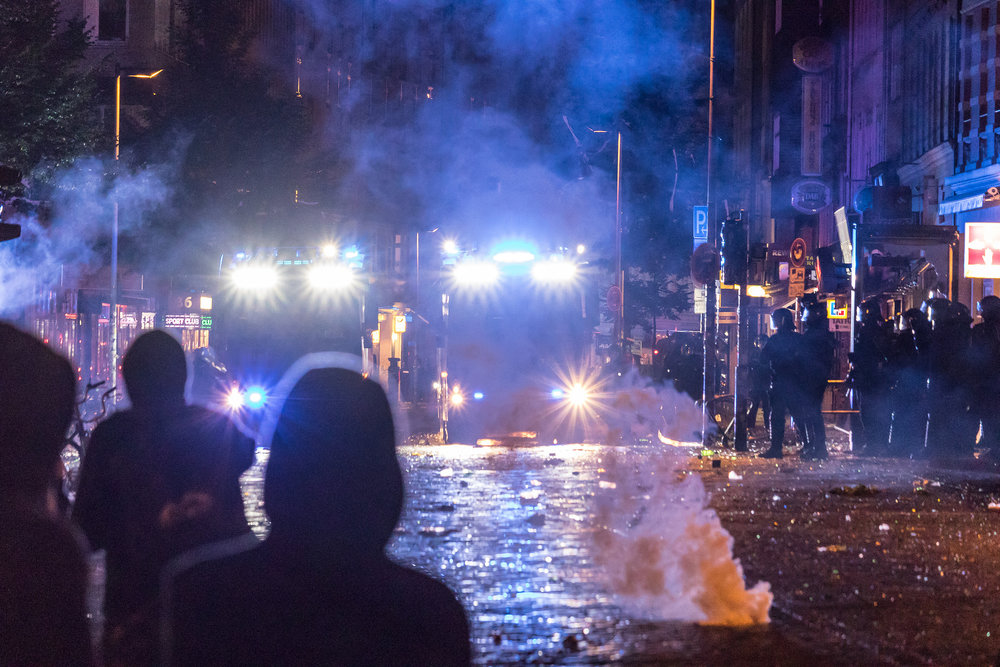 Violent clashes between police and rioters in Schanzenviertel Credit:  Dustin Hackert / Flickr