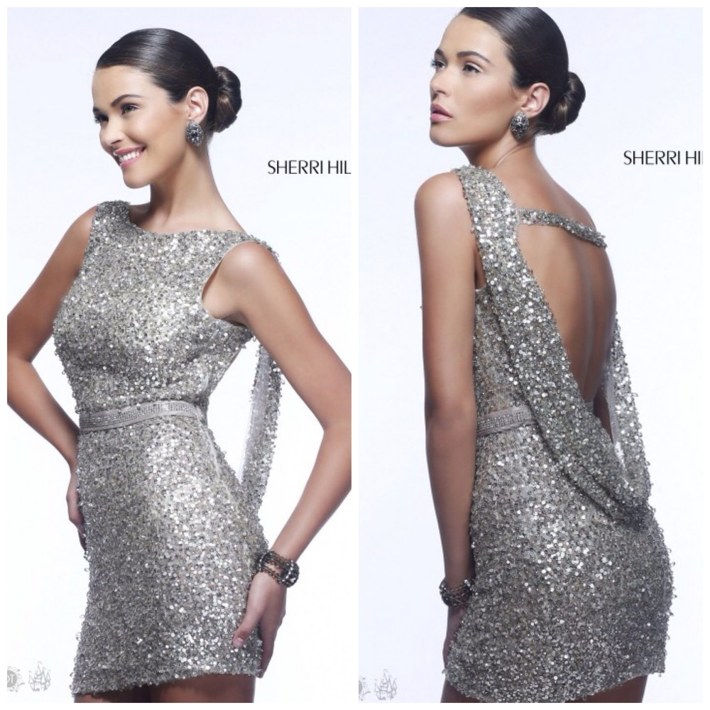 Sherri Hill, Draped Back Cocktail Dress