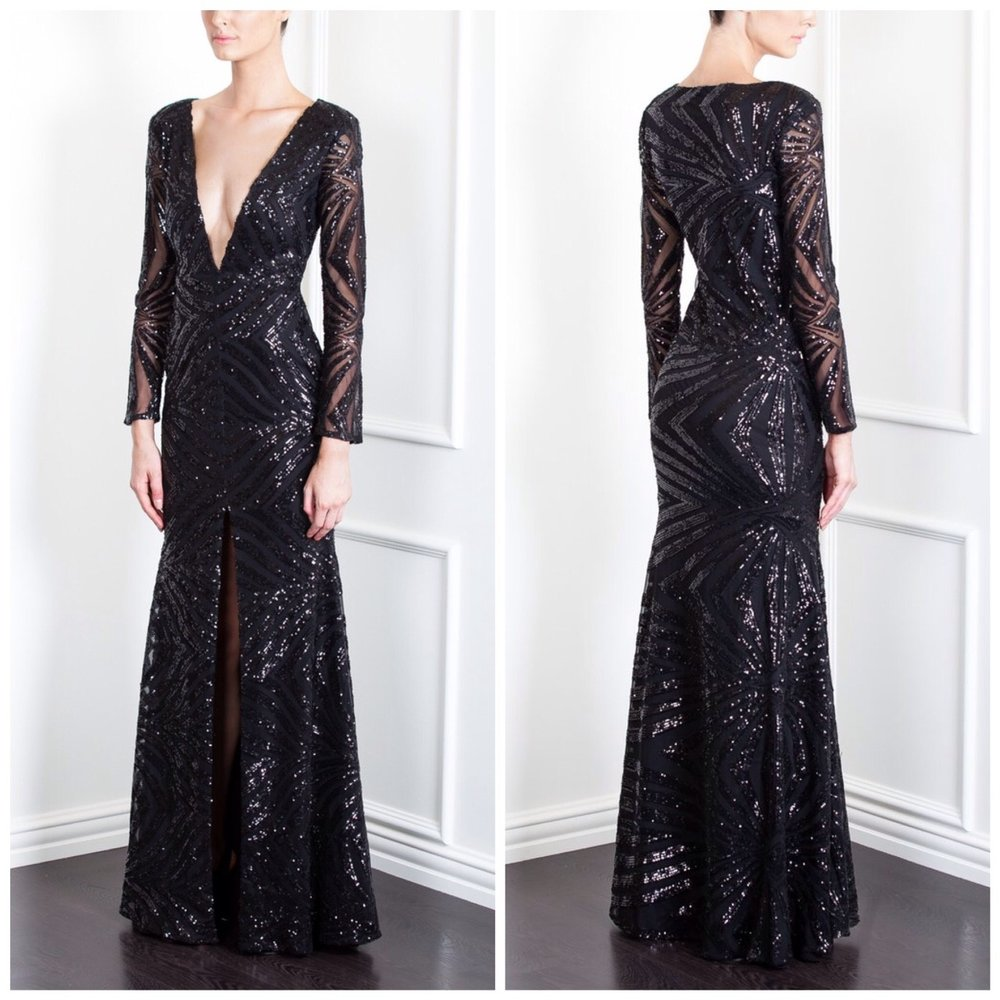 Ae'lkemi, Sequin Deco Plunge Gown