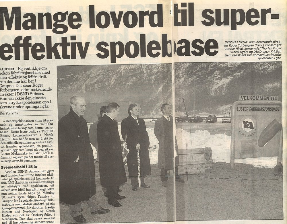 1997 - New owners in 1997: West Industri Service AS (47%), DSND Subsea AS (34%), Luster Kommune/Luster Sparebank (7%) og LMI Ansattes aksjestiftelse (12%).DSND Subsea AS established the Luster Fabrikasjonsbase in 1997. DSND Subsea AS was acquired by Subsea7 and continued the operations forward to 2007.
