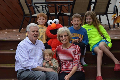 Bill and wife Joyce with Elmo and the grandkids in the fall of 2016