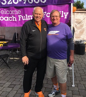 David at an Alzheimer's Tennessee fundraiser walk with a new friend, former UT football coach Phil Fulmer