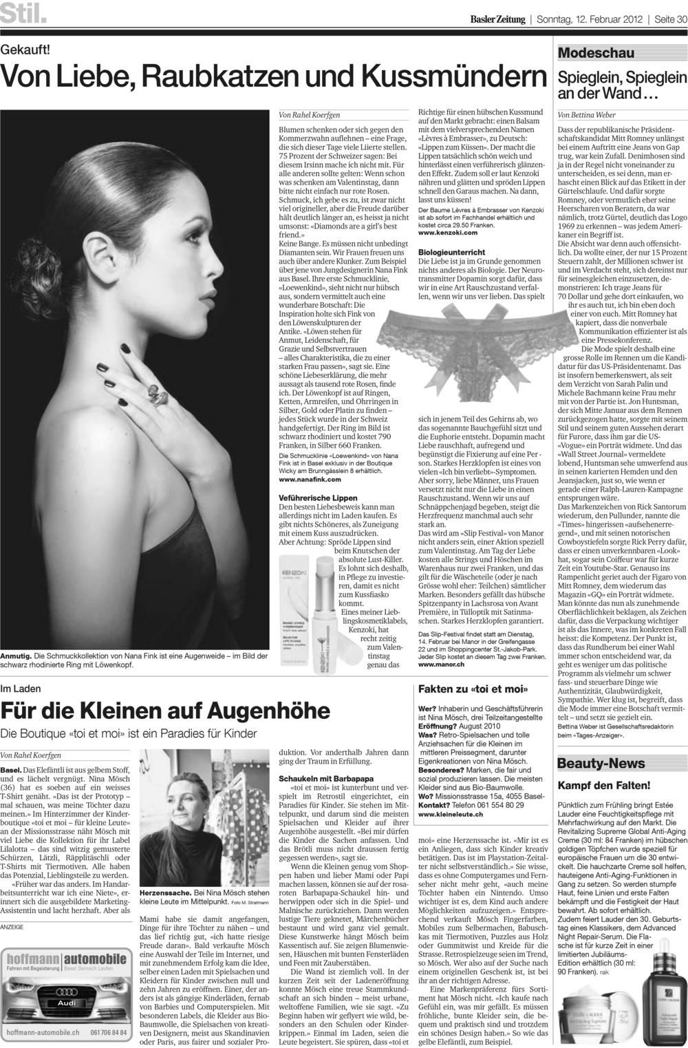 Basler Zeitung, Februar 2012