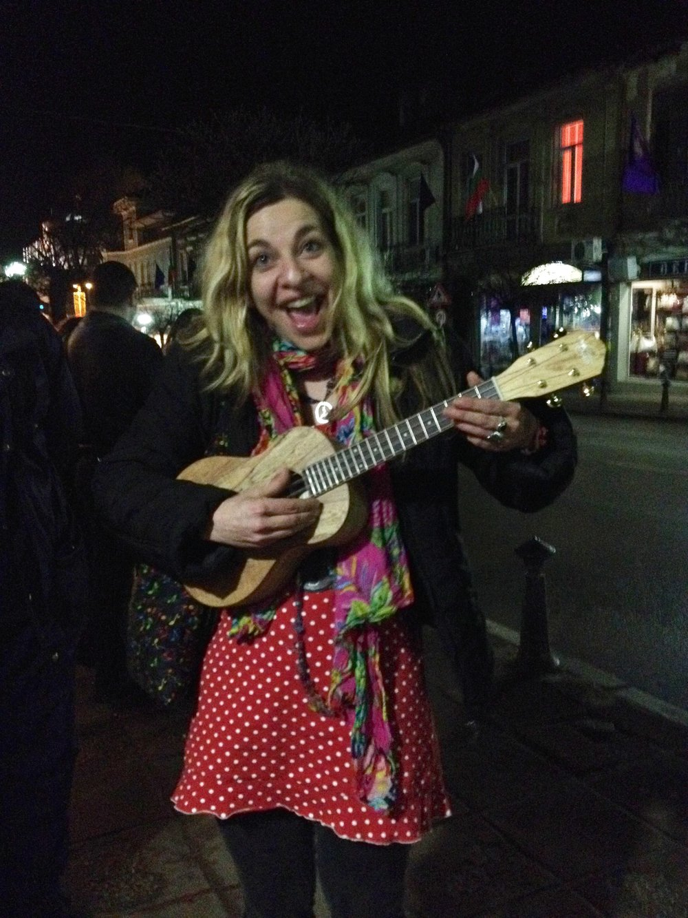 Singer Sha-Sha tries out my OU8T after a show, in Veliko Tarnovo, Bulgaria