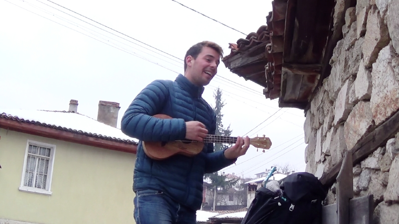 Ben&OU8T, recording the first song on the road, in village Koprivshtitsa, Bulgaria