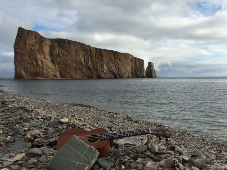 On the banks of Sigsôg, a ukulele has a deserved little rest.