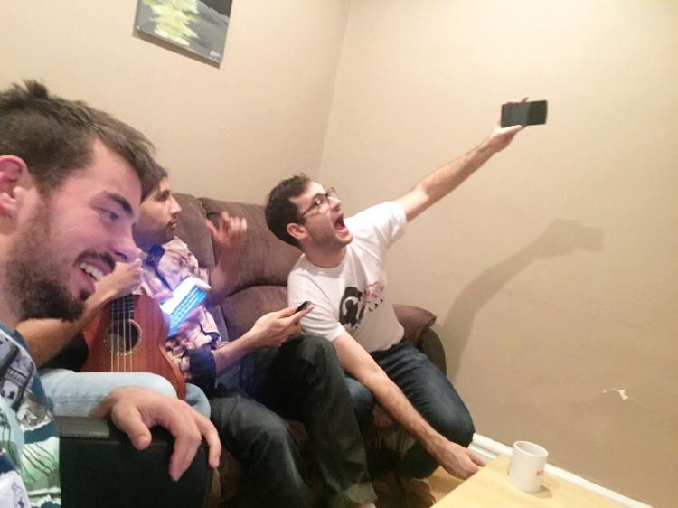 Post-podcast self-congratulory selfies all around !!