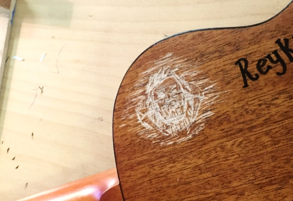 Odin's portrait, carved in the back of my tenor Ukulele while at the  Reykjavik arts school