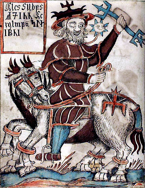 Odin and Sleipnir, from a XVIIIth century Icelandic manuscript