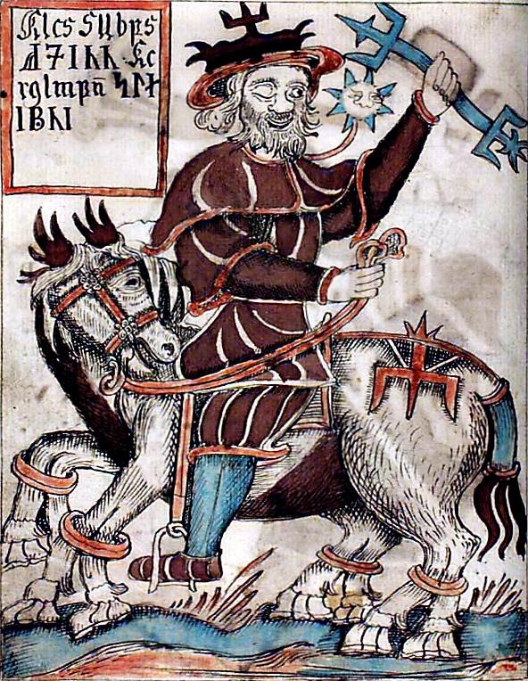 Odin and Sleipnir, from a XVIIIth century Icelandic manuscript