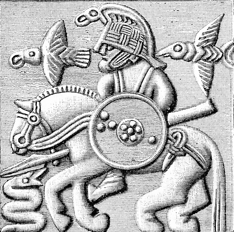 Odin and the gang, from a vendel helmet (pre-viking, approx VIIIth c.)
