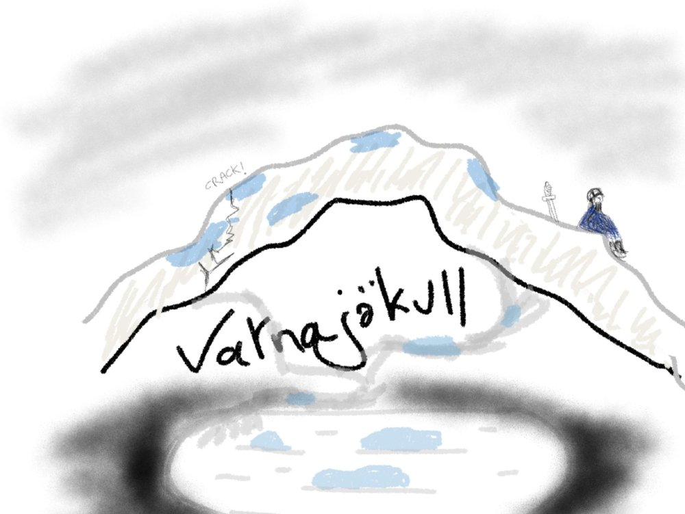 Photograph of the Vatnajökull and lagoon, circa 1947, colourised (joke)