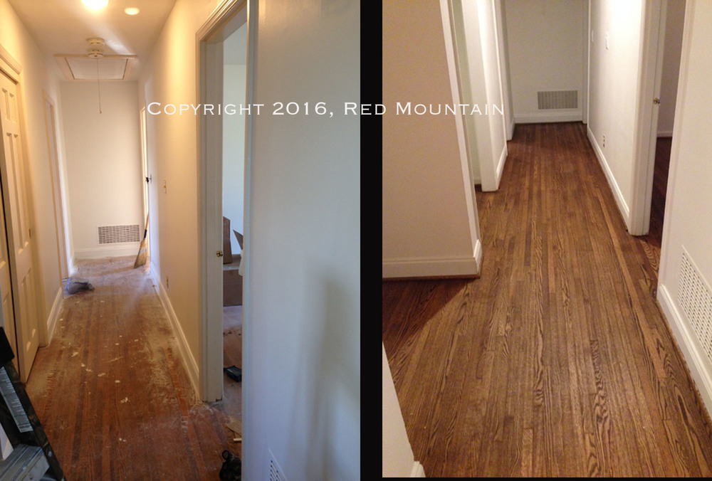 Before and after photos of newly refinished hardwood flooring.