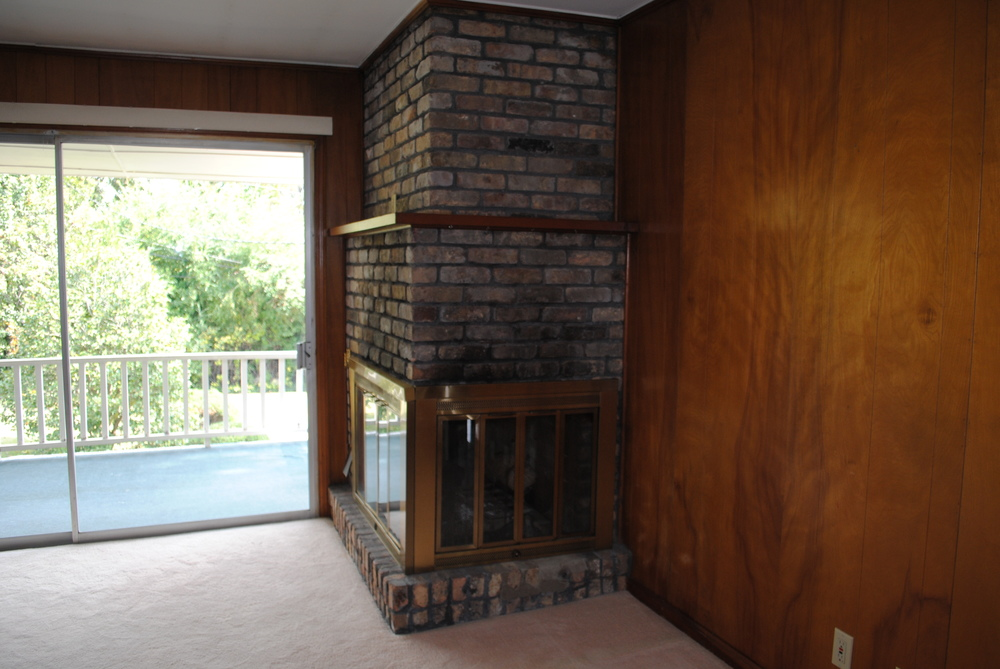 """Before"" Fireplace and Sliding Door"
