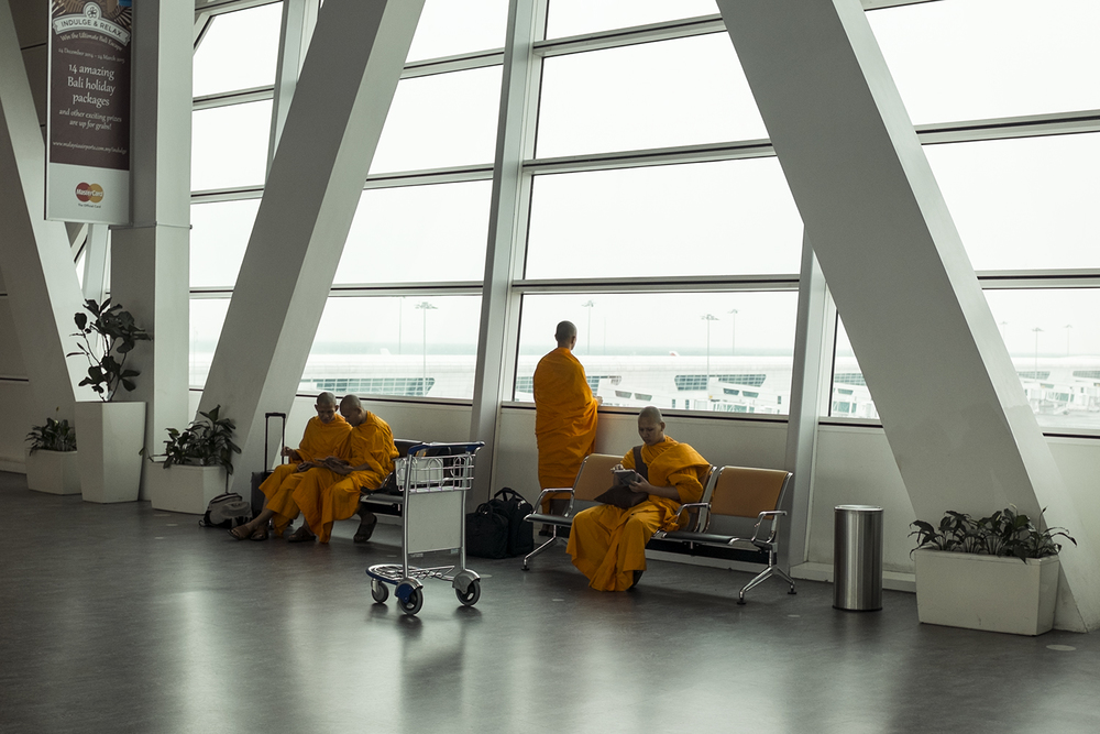 Monks in transit.