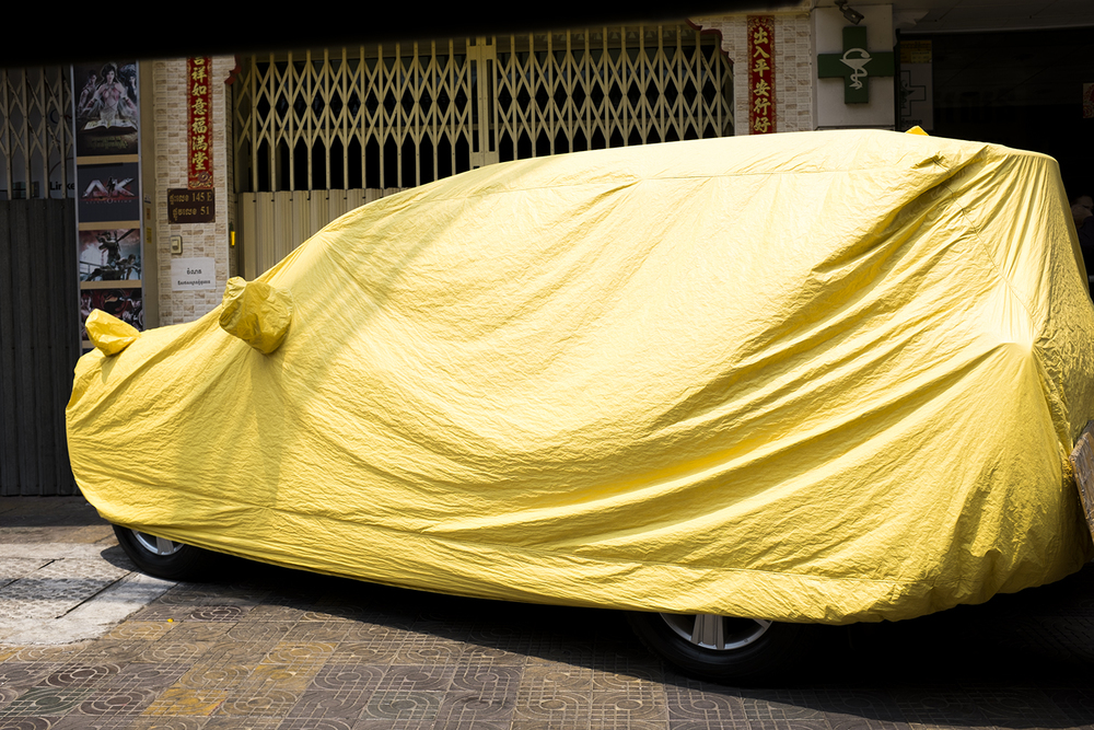 A 4WD under a cover to keep clean from all the dust.