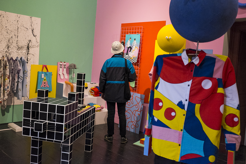 The Lazy Oaf pop-up store featuring pieces from their 'A Fun Project' collection.