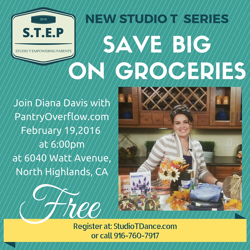 CLASSES & WORKSHOPS FOR PARENTS                You Advance while they Dance This month is SAVE BIG ON GROCERIES with Shopping Expert, Diana Davis with PantryOverflow.com Learn where to shop for the best deal, which apps save you the most money, and how to maximize your savings with coupons. Be sure to invite family and friends to this money saving class. REGISTER FOR THIS CLASS