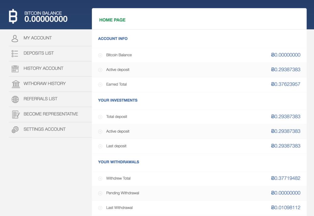 HYIP - BitOffice Dashboard