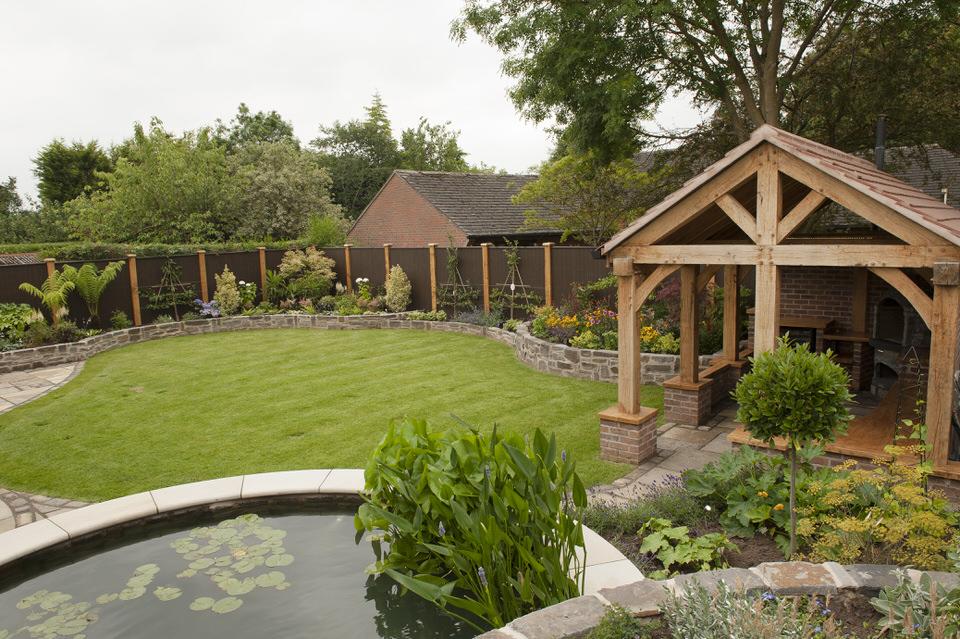 Garden with outdoor kitchen