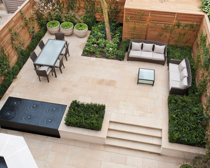 Modern outdoor room with water feature