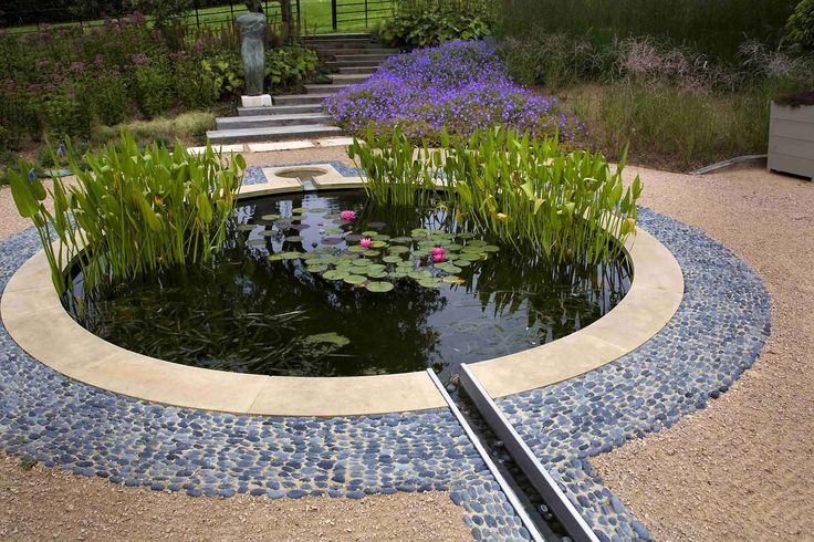 Circular pond with connecting rill