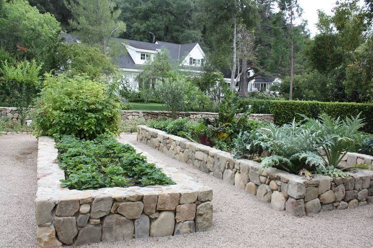 Raised natural stone beds