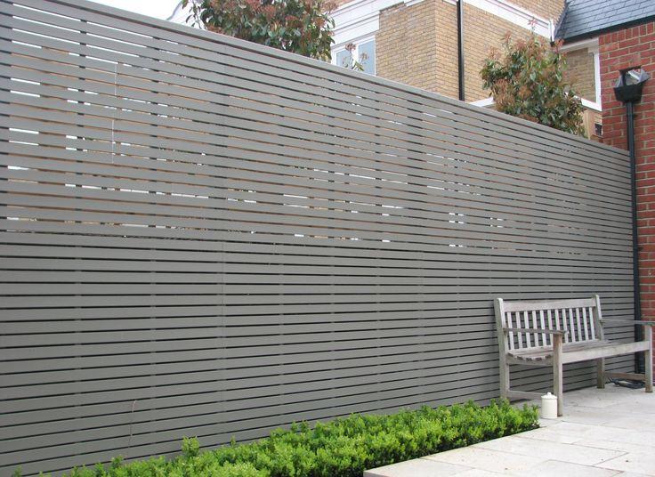 Modern grey horizontal timber slat fence