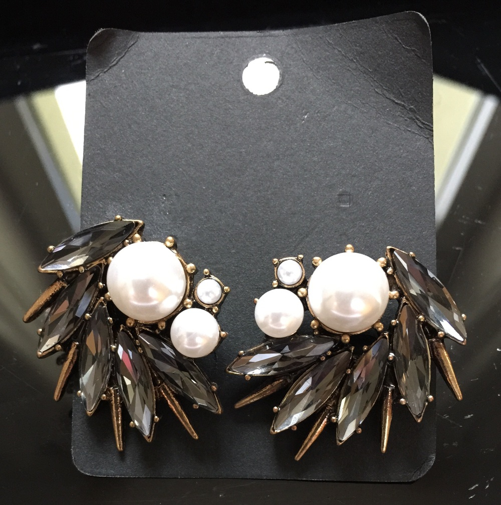 Vintage Black and Pearl Statement Earrings
