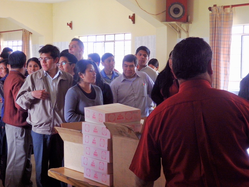 In Peru, BIEM provided Spanish-languages Bibles for these eager students of God's Word.