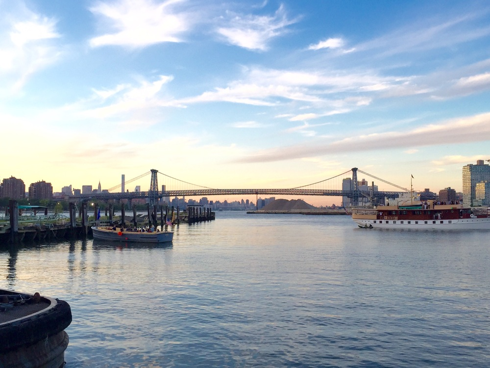 The view at sunset from the Brooklyn Navy Yard.