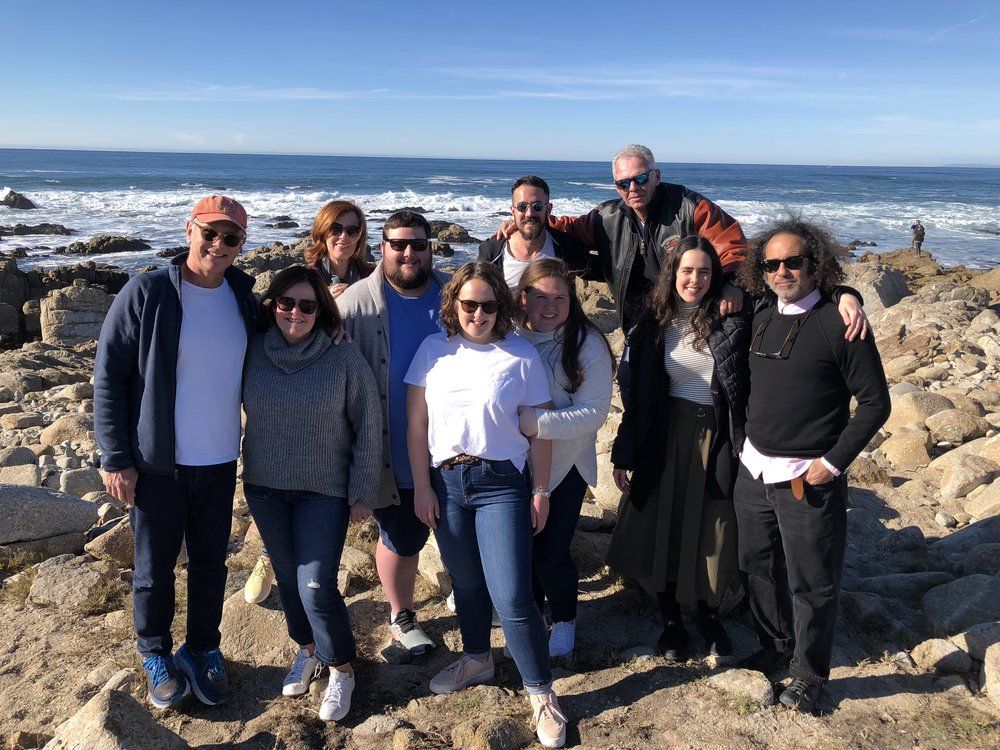 December 2018: Andrew's parents, uncle, aunt, cousins, Andrew, and his sister Sophia and me on the beach at the 17-Mile Drive!