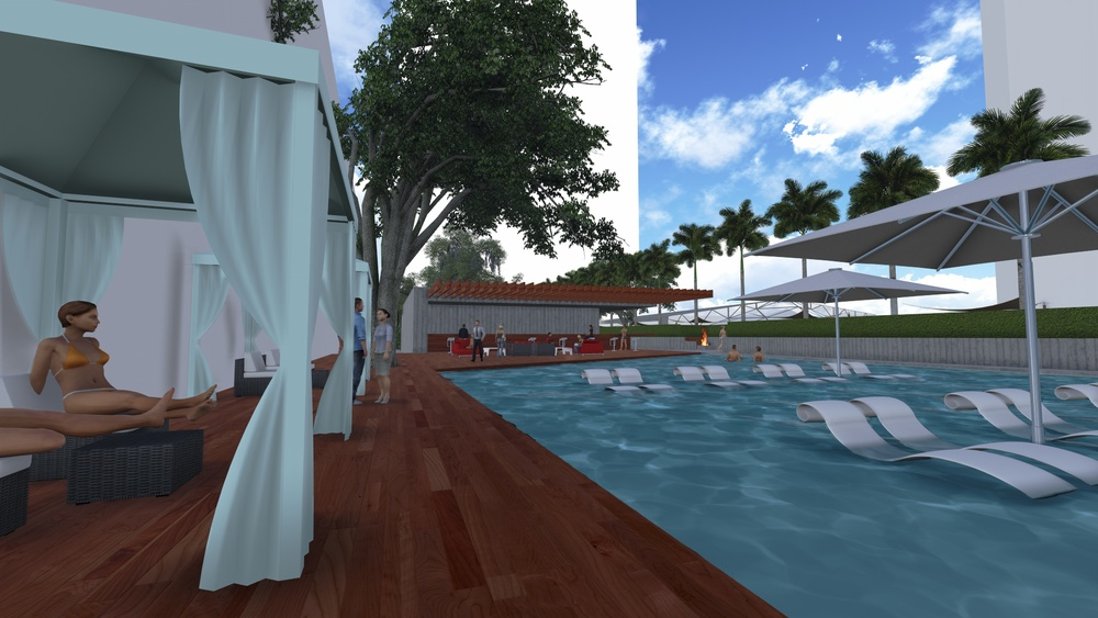 Pool and cabanas