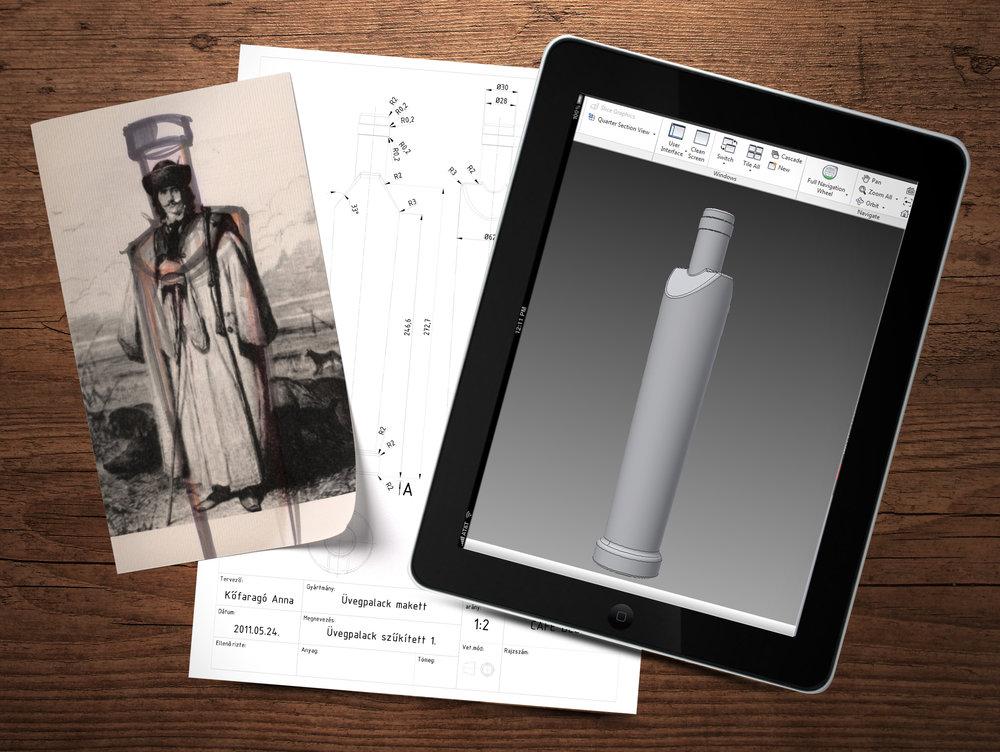 A Schiszler pálinkák üvegformája egy szűrbe burkolózott, széles vállú, de karcsú és magas emberalakot, egy betyárt mintáz. Egyszerre karakteres és üzenetet hordozó forma, amit a csomagolások kiterjesztése, a díszdoboz formája is támogat