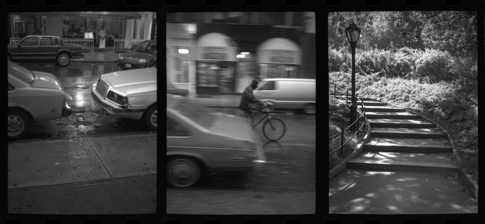 cars . bike . stairs . new york . 1988