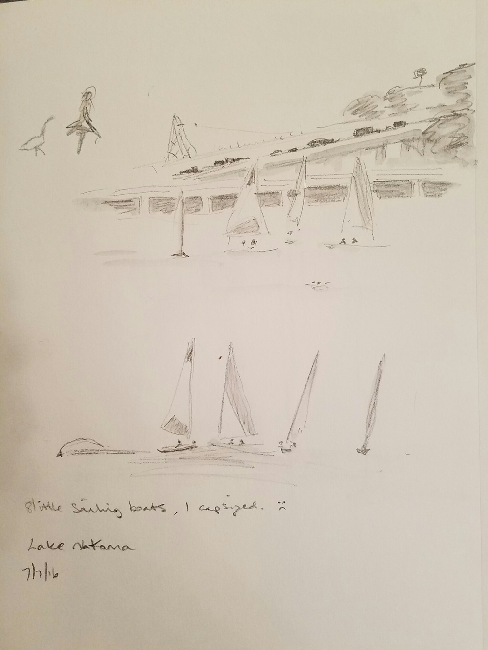 Quick sketches of the real sailboats.