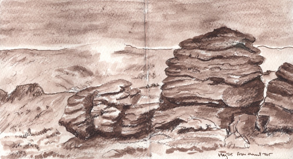Dartmoor is subject to wild changes in weather and this sketch was done during a foggy patch where the distant Hound Tor was covered in low cloud.