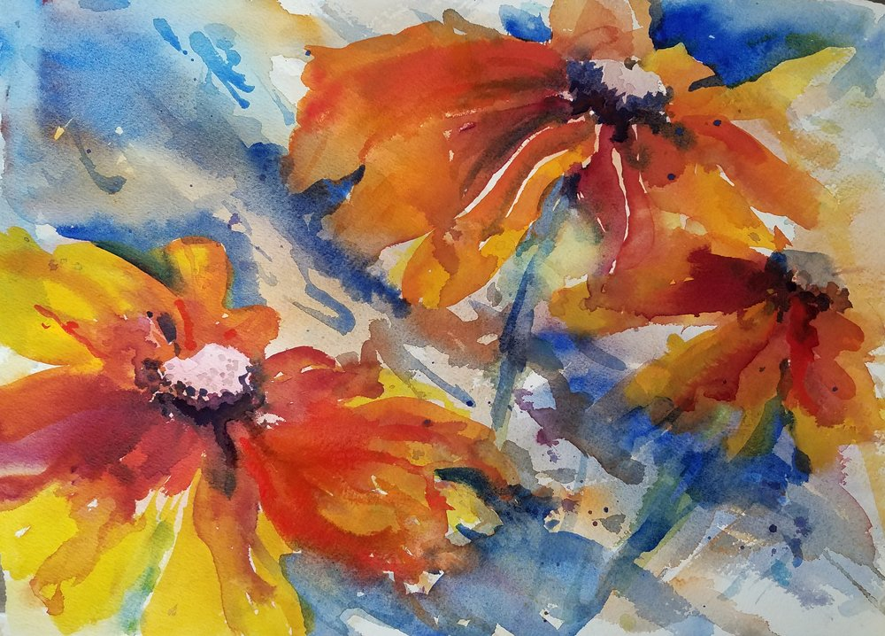 """Rudbeckia""  Watercolor 10 x 14 inches"