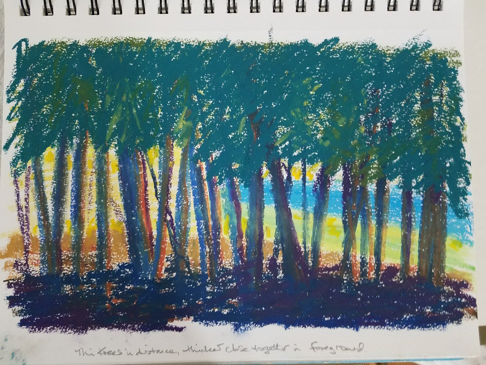 This was my sketchbook page, done from memory, at the campground