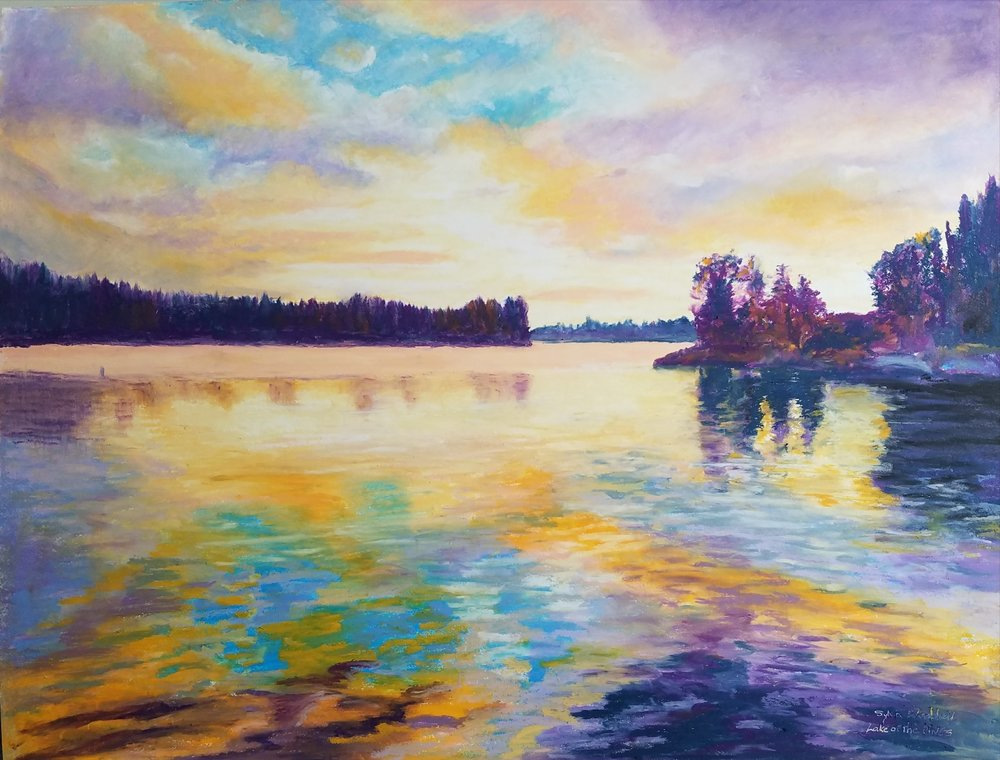 Sunset at Lake of the Pines (oil Pastel) 16 x 20 inches