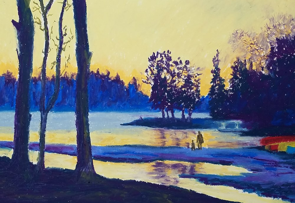 Evening light at Park #3   (7 x 10)