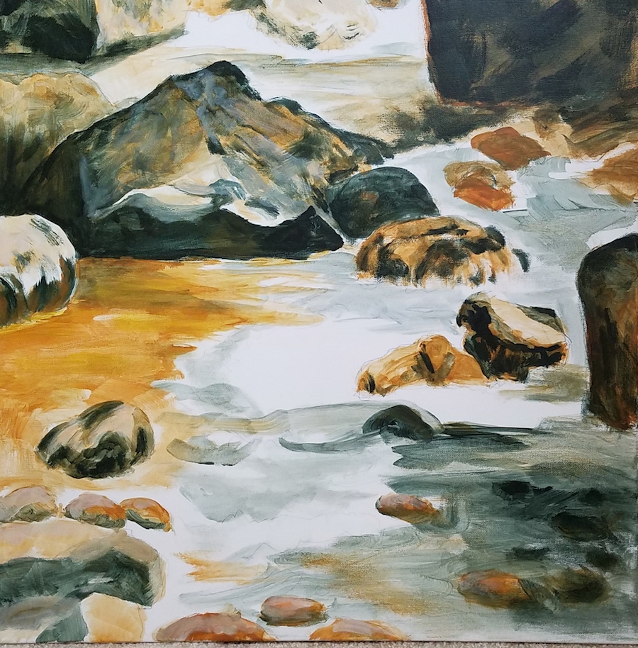 First layers of the Merced River painting.