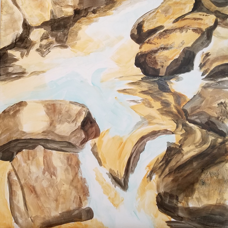 Underpainting for River Rocks.
